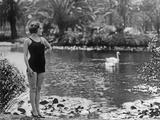 Swimwear at a Water Lily Pond, 1927 Photographic Print by Scherl Süddeutsche Zeitung Photo