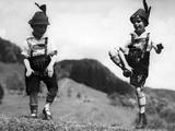 Two Boys Performing Schuhplattln, 1933 Photographic Print by Scherl Süddeutsche Zeitung Photo