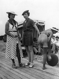 Beachwear in Deauville in France, 1935 Photographic Print by Scherl Süddeutsche Zeitung Photo