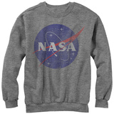 Crewneck Sweatshirt: NASA- Distressed Iconic Logo Vêtements