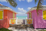 A Typical Tropical Scene with Colorful Buildings, Palms and Water Stretched Canvas Print by Mike Theiss