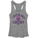 Juniors Tank Top: Never Skip Leg Day Scoop Neck Shirts