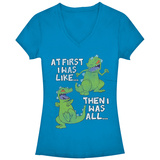 Women's: Rugrats- Then And Now V-Neck Naisten T-paidat v-pääntiellä