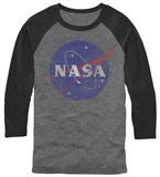 Long Sleeve: NASA- Distressed Iconic Logo (Raglan) T-Shirt