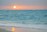 Sunset in Paradise over the Caribbean and on a Beach Stretched Canvas Print by Mike Theiss