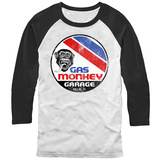Long Sleeve: Gas Monkey- Distressed Le Mans Button (Raglan) Raglans