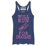 Juniors Tank Top: Will Run For Chocolate Scoop Neck Koszulka