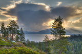 A Storm at Sunrise over Lake Tahoe, California Stretched Canvas Print by Greg Winston