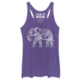 Juniors Tank Top: Hennafied Elephant Scoop Neck T-Shirts