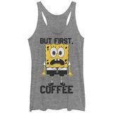 Juniors Tank Top: Sponge Bob- But First Coffee Scoop Neck Koszulki