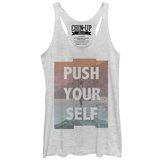 Juniors Tank Top: Push Yourself Stamp Scoop Neck T-shirts