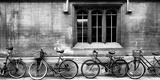 A Row of Bikes Leaning Against an Old School Building in Oxford, England Leinwand von Keith Barraclough