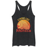Juniors Tank Top: Disney: The Lion King- Strong Like Mufasa Scoop Neck Magliette