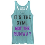 Juniors Tank Top: Gym Not Runway Scoop Neck T-Shirt