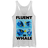 Juniors Tank Top: Disney: Finding Nemo- Dory Fluent In Whale Scoop Neck T-Shirts