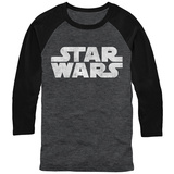 Long Sleeve: Star Wars- Distressed Classic White Logo (Raglan) T-shirts