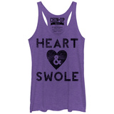 Juniors Tank Top: Heart & Swole Scoop Neck T-Shirt