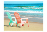 Adirondak Chairs on the beach Prints by Suzanne Foschino