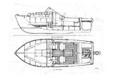 Boat Blueprint 2 Print by Carole Stevens