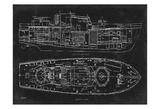 Boat Blueprint 1 Prints by Carole Stevens