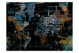 World Text Map Prints by OnRei OnRei