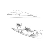Man drives on road until sign that reads 'Road Narrows'. - New Yorker Cartoon Premium Giclee Print by Michael Maslin