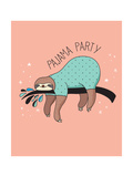 Cute Hand Drawn Sloths, Funny Vector Illustration, Poster and Greeting Card, Party Invitation Plakater af Marish