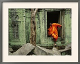 Angkor Wat Temple with Monk, Siem Reap, Cambodia Framed Photographic Print by Steve Raymer