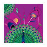 Nature Fan, Peacock Color Giclee Print by Belén Mena