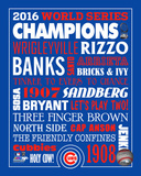 MLB: Chicago Cubs 2016 World Series Champions Name Composite Photo