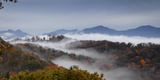 Clouds Fill a Mountain Valley That Is Full of Autumn Color Photographic Print by Amy & Al White & Petteway