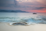 A Long Exposure of a Colorful Sunrise in the Atlantic Rainforest Beach in Ubatuba, Brazil Photographic Print by Alex Saberi