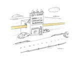 "Baguette protruding through store with sign ""Al's Bakery Home of The Infin... - New Yorker Cartoon Regular Giclee Print by Michael Maslin"