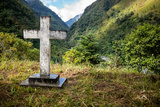 A Cross on a Hilltop Above the Village of Dashutu Photographic Print by Cory Richards