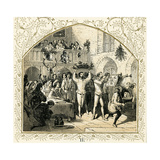 Presenting the Boars Head - Illustration to Christmas Carol by Birket Foster, 1872 Giclee Print by Myles Birket Foster