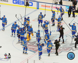 The St Louis Blues celebrate winning the 2017 NHL Winter Classic Photo