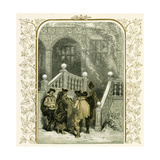 Christmas Carolers - Illustration by Birket Foster, 1872 Giclee Print by Myles Birket Foster