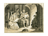 Elizabethan Christmas Scene - Illustration by Birket Foster, 1872 Giclee Print by Myles Birket Foster