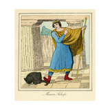 Minon Asleep - the King Attempts to Step on the Cats Tail Giclee Print by Charles Edmund Brock