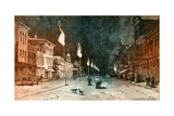 Gas Lamp Technology to Light Streets at Night Giclee Print by Charles Graham