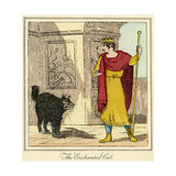 The Enchanted Cat - the King Encounters the Cat Giclee Print by Charles Edmund Brock