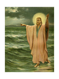 Jesus Christ Performing One of His Miracles - Walking on Lake Galilee Giclee Print by Philip Richard Morris