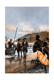 Captain Cooks First Landing at Botany Bay, N.S. Wales, 1770 Giclee Print by George Soper
