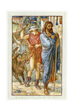 The Strangers in the Village - Zeus and Hermes Disguised as Peasants Giclee Print by Walter Crane