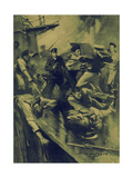 World War 1 - Hand-To-Hand Fight on the H.M.S. Broke Giclee Print by E.s. Hodgson