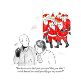 """You know how last year you said that you didn't think SantaCon could poss..."" - Cartoon Regular Giclee Print by Emily Flake"