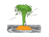 A man on a desert island that's actually a giant carrot, being circled by ... - New Yorker Cartoon Premium Giclee Print by Pat Byrnes