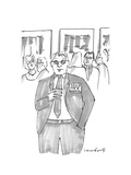 """Man at event wearing a badge that says """"Hello: I'm A Wreck"""". - New Yorker Cartoon Premium Giclee Print by Michael Crawford"""