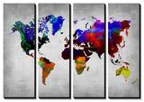 World Watercolor Map 12 Affiches par  NaxArt
