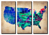 USA Watercolor Map 3 Poster by  NaxArt